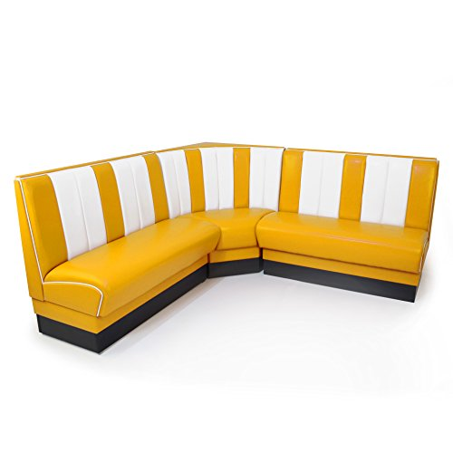 möbelland24 American Diner Eckbank gelb Set Viber 2X Sitzbank 122cm + Eckbank 78x78cm Retro