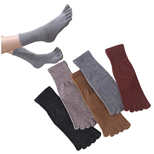 QMMD 5 Pairs Womens Five Fingers Toe Socks, Mini Crew Sport Socks, Ladies Cotton Socks Crew Novelty Liner Socks, Soft and Breathable, Size 3-7,C‐5 pair