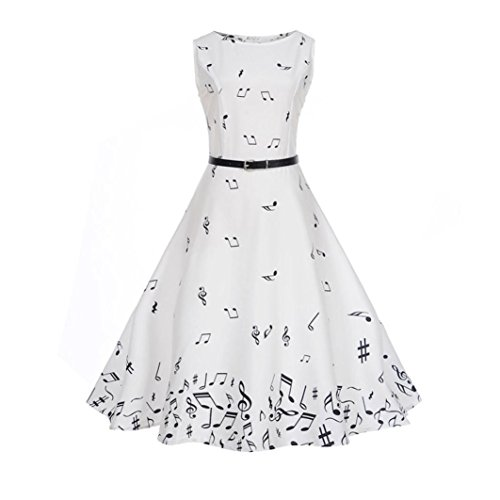 L, 5-Schwarz Frau Vintage Retro Hepburn Style Notes Druck Bodycon Sleeveless Abendgesellschaft Prom Swing Kleid Geschenke VJGOAL Damen Kleid