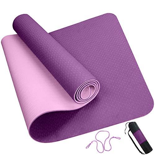 ROMIX Esterilla Yoga, Exercise Mat Eco-Friendly 6MM de Gruesor TPE con Bolsa de Transporte, Colchoneta de Yoga Antideslizante para Hombres, Mujeres, Hogar, Gimnasio, de Meditación Pilates (Púrpura) ✅