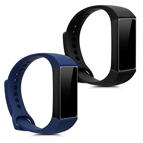 kwmobile 2X Pulsera Compatible con Xiaomi Mi Band 4C / Redmi Band - Brazalete de Silicona Negro/Azul Oscuro sin Fitness Tracker