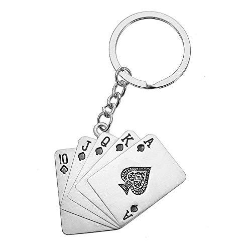 C-FUNN Man's kerstauto cadeau creatieve poker metalen sleutelhanger ring