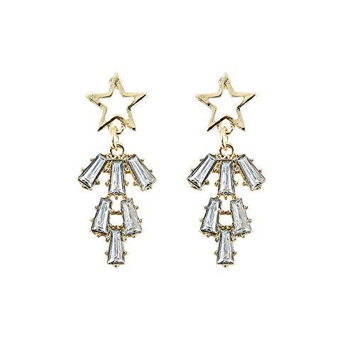 BeniPendientes de estrella de cinco puntas con aguja de plata S925, nuevo estilo simple
