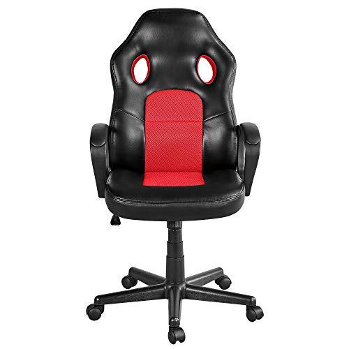 Yaheetech Racing Gaming Stuhl Bürostuhl Chefsessel Drehstuhl Sportsitz, Lift SGS Geprüft, höhenverstellbar, gepolsterte Armlehnen, Wippfunktion, Kunstleder Rot