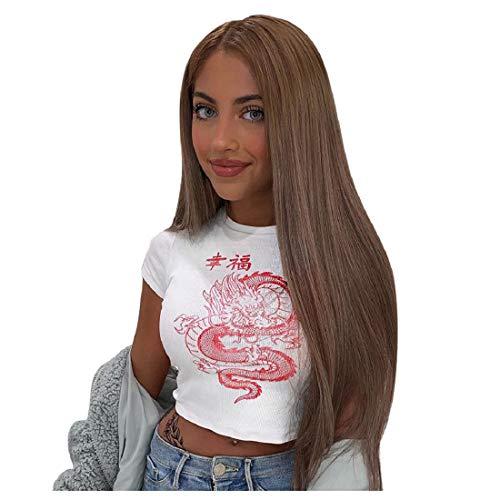 DEELIN Camiseta de Manga Corta para Mujer Chino Personaje Dragón impresión Casual Tanque Camiseta Streetwear Señoras O-Cuello Blusa Top