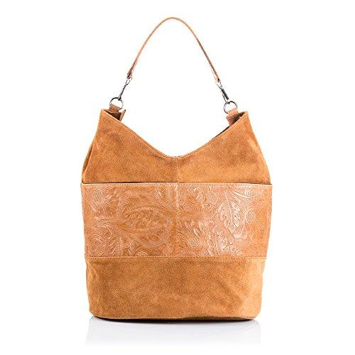 FIRENZE ARTEGIANI.Borsa shopping bag donna vera pelle.Borsa Cuoio autentico. Pelle Camoscio con linea in pelle inciso arabeschi. MADE IN ITALY. VERA PELLE ITALIANA. 32 x 30 x 20 cm. Colore: Cuoio