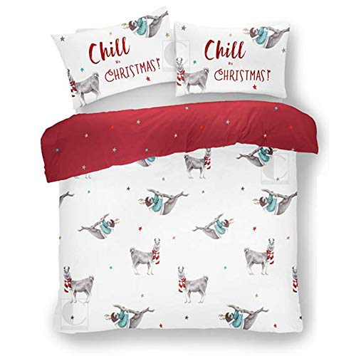 FAIRWAYUK Kids Christmas Bedding Set, Xmas Sloth Duvet Cover and Pillowcase, Reversible Festive Quilt, Easy Care, White/Red, Double Bed, 200x200cm