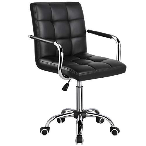 Yaheetech Bürostuhl Drehstuhl Schreibtischstuhl Kunstleder Bürohocker mit Rollen, Höhenverstellbar 48-62 cm Schwarz
