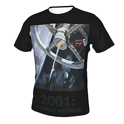Tシャツ メンズ 2001a Space Odyssey 2001年宇宙の旅 ティー シャツ 半袖 インナーシャツ 薄手 2021新型 夏 おしゃれ プリント T シャツ 丸首 やわらか肌着 抗菌防臭加工 通気性 多いサイズ 3xl Black
