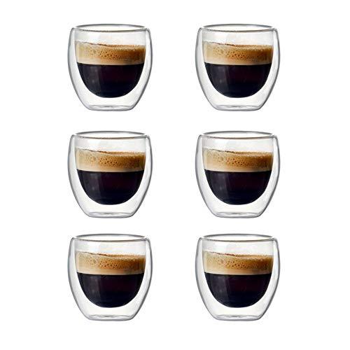 FUXIAOCHEN Von Der Set Double-Wall Insulated Set Für Trinkbecher Tee, Kaffeetasse, In 80 Ml Wasser Oder Espresso Tassen .6TH
