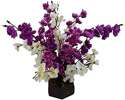 Loxiaa Artificial Blossom Flower White, Purple Orchids Artificial Flower with Pot