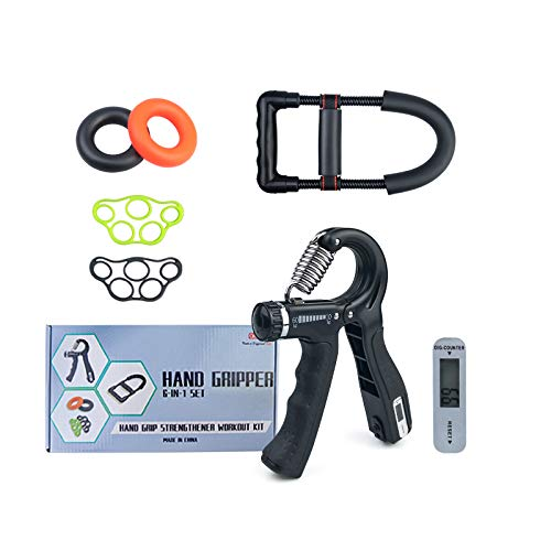 DEANIC Hand Grip Exerciser Strengthener(6 Pack)Forearm Grip Adjustable Electronic Counting Wrist Strengthener Grip Ring Exerciser and Finger Stretcher for Men Women Injury Recovery
