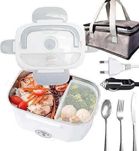 Boîte à lunch chauffante,Boîte à Repas 40w avec Cuillère et Deux Compartiments,Lunch Box Chauffante Électrique 2 en 1,Gamelle Chauffante Acier Inoxidable 12V/24V/220V (+ Sac isolant)