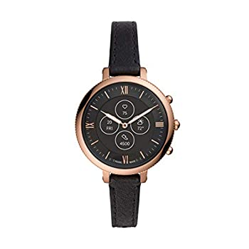 Fossil Women s 38mm Monroe Stainless Steel and Leather Hybrid HR Smart Watch Color  Rose Gold Black  Model  FTW7035