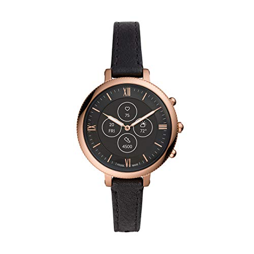 Fossil Women's Monroe Stainless Steel and Leather Hybrid HR Smartwatch, Color: Black (Model: FTW7035)