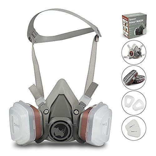 Facial Cubierta Antipolvo RSM con 2 filtros de algodón y 2 cartuchos contra Gas, Pintura,...