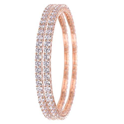 Ratnavali Jewels CZ Zirconia Solitario de Oro Rosa Pulsera de Diamantes Bollywood Brazalete de Boda Joyas Mujeres