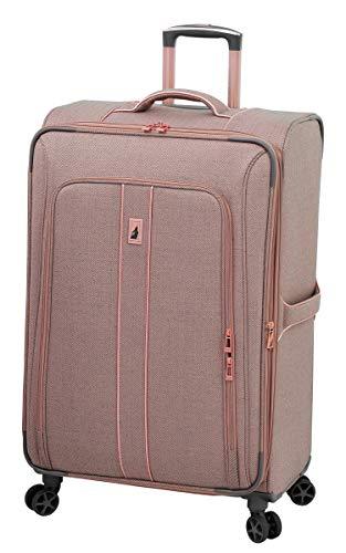 LONDON FOG Newcastle Softside Expandable Spinner Luggage, Rose Charcoal Herringbone, Checked-Large 28-Inch