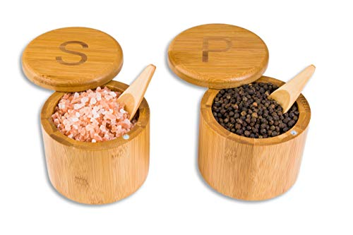Scavyn Engraved Bamboo Salt and Pepper Box Set with Spoons, Bamboo Storage Boxes with Magnetic Swivel Lids, S' and 'P' Engraved on Lids, Spice Box, Salt Cellar, Wood Salt, Decorative Spice Storage