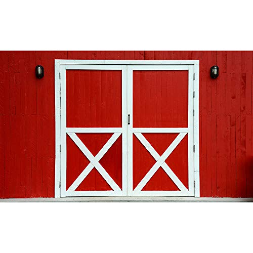 Allenjoy 5x3ft Red Barn Door Photography Backdrop Farm Rustic Friendly Farm Background Thanksgiving Harvest Photo Booth Fall Lunch Western Birthday Baby Shower Party Decoration Supplies