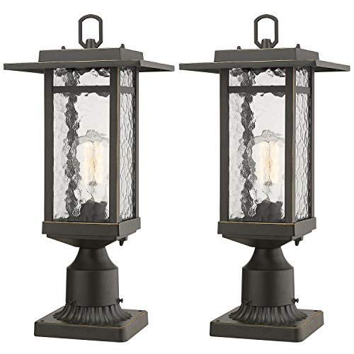 Beionxii Outdoor Post Lantern, Set of 2 Exterior Post Lighting Fixture with 3-Inch Pier Mount Base, Oil Rubbed Bronze Finish with Water Ripple Glass (8.2
