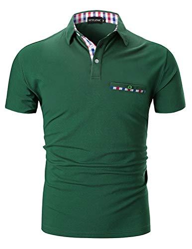 STTLZMC Moda Polo Uomo Manica Corta con Plaid Cotone T-Shirt Tops Tennis,Verde,L