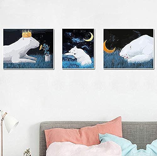 Jemdshen Peinture De Bricolage par Numéros Animal Ours Peinture sans Huile Photo sans Cadre par Numéros Décoration Murale Actylic Peinture par Numéro Kits