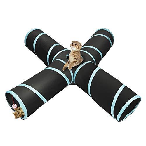 Katzentunnel Katzenspielzeug 4-Wege Katze Tunnel Pet Cat Play Tunnel Tube zusammenklappbar Kätzchen Spielzeug Spiel Tunnel für Katzen/Welpen/Kaninchen, Indoor und Outdoor