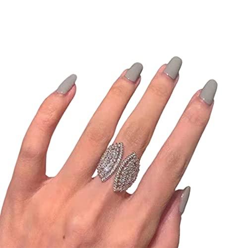 ASFQW Anillo para niñas con Forma de Concha Anillo Abierto Plateado Regalo versátil Anillo de Abanico Personalizado,Silver-One Size