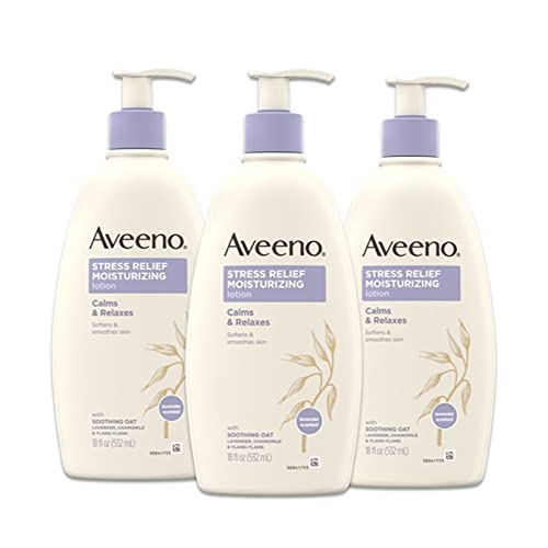 Aveeno Stress Relief Moisturizing Body Lotion with Lavender, Natural Oatmeal and Chamomile & Ylang-Ylang Essential Oils to Calm & Relax, 18 fl. Oz (Pack of 3)