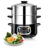 Secura Electric Food Steamer, Vegetable Steamer Double Tiered Stackable Baskets with Timer, 1200W...