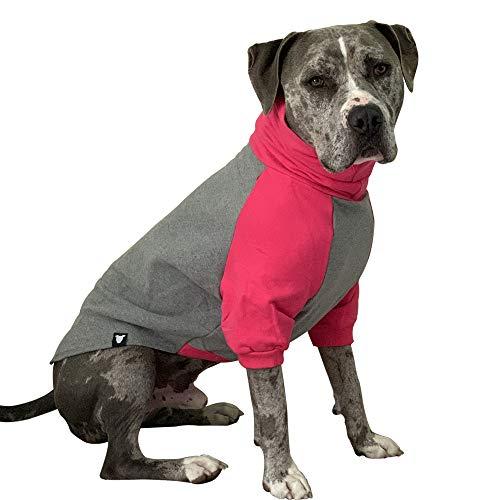 Tooth & Honey Large Dog Sweater/Pitbull/Large Dog Sweater Dog Sweatshirt/Hot Pink & Grey (Large)