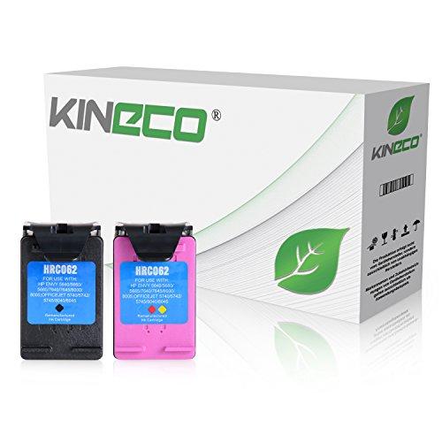 2 Kineco Tintenpatronen kompatibel zu HP 62 XL Schwarz und Farbig OfficeJet 250 OfficeJet 200 - Mit Füllstandsanzeige
