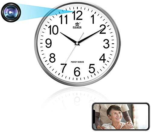 Mini cámara wifi, cámara de reloj de pared HD 1080P con detección de movimiento y vídeo en tiempo real con objetivo invisible (batería recargable de 2000 mAh)