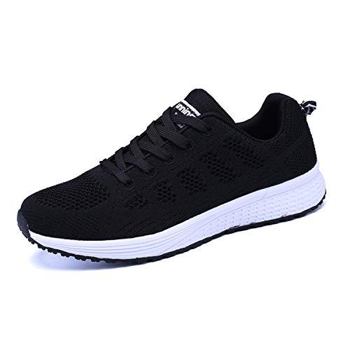 Lanchengjieneng Mujer Entrenador Zapatos Gimnasio Deportes atléticos Zapatillas de Deporte Malla Informal Zapatos para Caminar Encaje Plano Negro EU 35