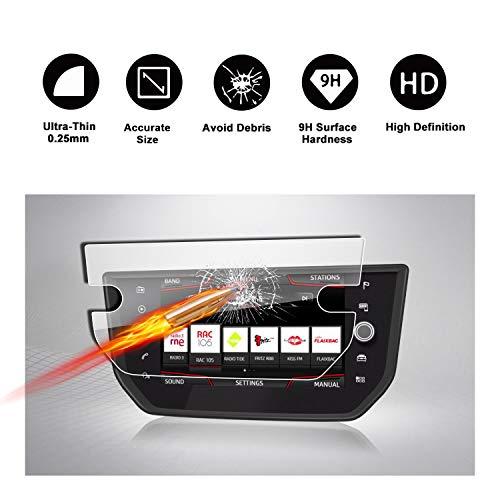 RUIYA Gehärtetem Glas Bildschirmschutzfolie für 2018 Seat Arona Seat Media System Plus Navigations System, unsichtbare & durchsichtige Film, Crystal Clear HD Bildschirmschutz, Anti-Kratz[8 Zoll]
