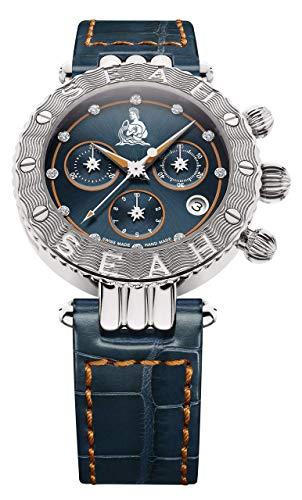 SEAH Galaxy Zodiac Sign Aquarius edición Limitada 38mm Tono Plateado Swiss Made Reloj