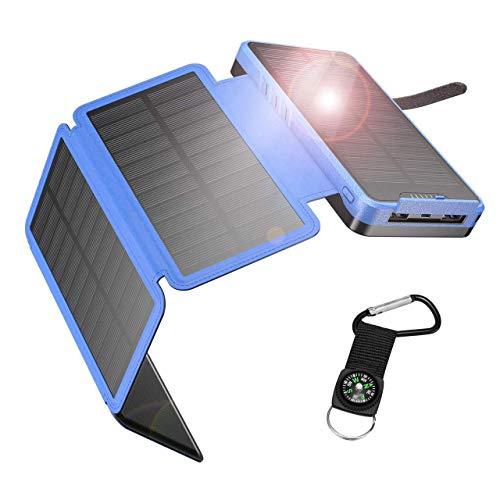 IEsafy Powerbank Solar 26800 mAh, cargador solar portátil con 4 paneles solares plegables, 2 puertos, carga rápida, cargador solar impermeable para móvil/iPhone/iPad/Tablet azul