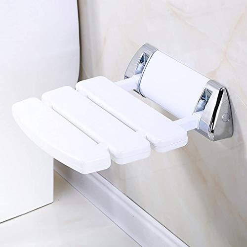 ZHPBHD Montado en la Pared del baño Taburete con Plegable Antideslizante de la Mesa de Trabajo Durante la calzada/baño/WC/Ducha Asiento - Blanco