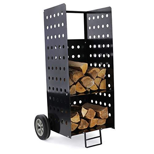 RAMROXX 34172 Brennholz Kaminholzwagen Beistellwagen für Kamin Holzscheite XL schwarz