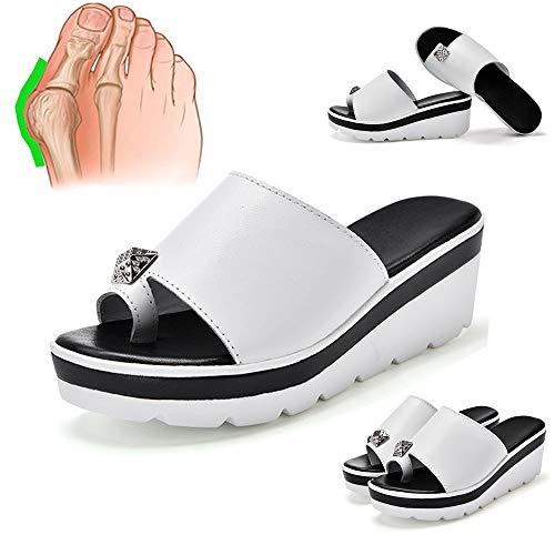 Wygwlg Frauen Bequeme Plattform Sandalen Schuhe Summer Beach Leder Hallux Valgus Big Toe Korrektur Sandalen, mit Arch Support Bunion Splint Open Toe Slipper Flip Flops,White-38