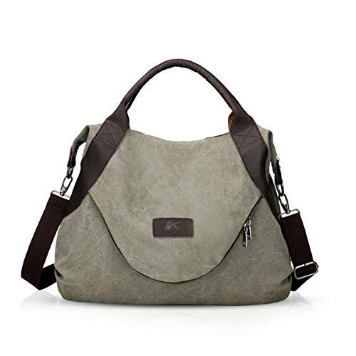 NICOLE & DORIS Segeltuch-Handtaschen Frauen Damen Leinentaschen Segeltuch Taschen Handtaschen Umhängetasche für Frauen Armeegrün
