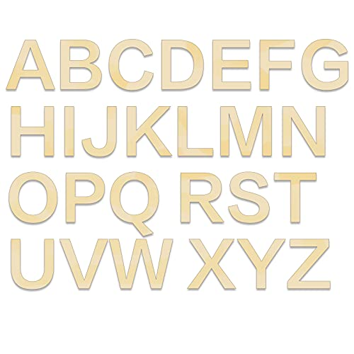 """BILLIOTEAM 26 PCS 6"""" Wooden Craft Letters,Natural Blank Unfinished Wooden Capital Alphabet Letters for Kids Learning Gift,DIY Painting,Letter Board,Home Wall Decoration"""