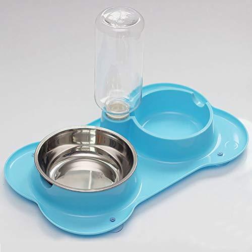 Zisita dubbele poort huisdier hond kat feeder vaas plastic automatische waterdispenser feeder bowl gebruiksvoorwerpen voor dieren water drinkfontein servies blauw