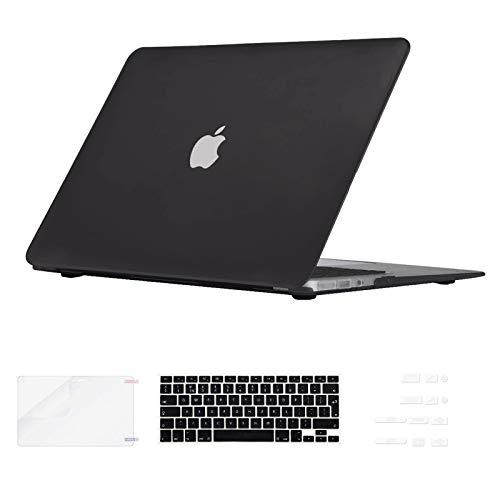 i-Buy Gummierte Harte Schutzhülle Hülle Kompatibel für MacBook Air 13 Zoll (Modell A1369 A1466) 2010-2017 Freisetzung + Silikon Tastaturschutz + Schutzfolie + Anti-Staub-Stecker - Schwarz