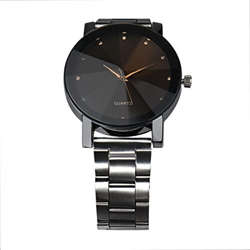 Auwer Watch Luxury Quartz Crystal Sport Stainless Steel Wrist Watch Men (Black)