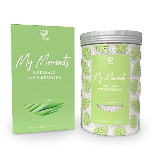 LoWell® Körperpeeling aus Meersalz 500g - Mit Jojobaöl - Intensives Scrub Erlebnis für ein straffes Hautbild - Peelingsalz für Dusche und Sauna - Lemongrass