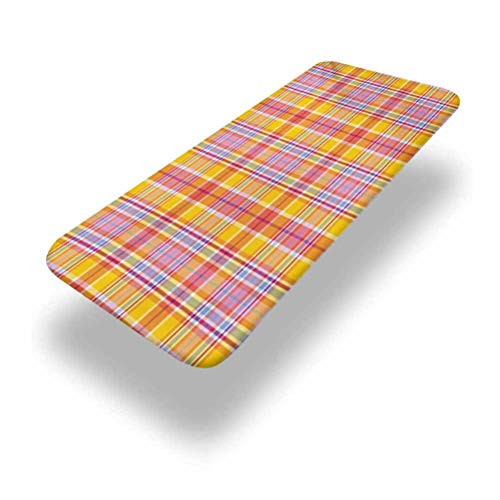 Lyzelre 5ft Abstract Elastic Edge Fitted Tablecloth,Madras Style Tartan Motif with Vivid Tone Bands Celtic Old Design Fabric Table Top Cap Cover,for Travel Christmas Picnics Parties Outdoor