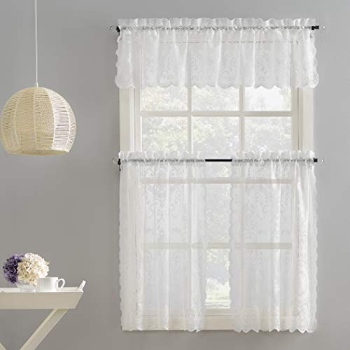 """No. 918 Ariella Floral Lace Rod Pocket Kitchen Curtain Valance and Tiers Set, 58"""" x 36"""", White"""