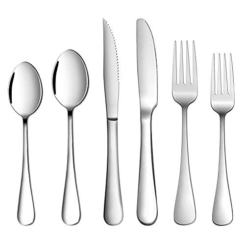 24-Piece Silverware Set with Steak Knives Service for 4, GMFINE Premium Stainless Steel Flatware Set,Elegant Cutlery Utensil Set, Tableware Include...